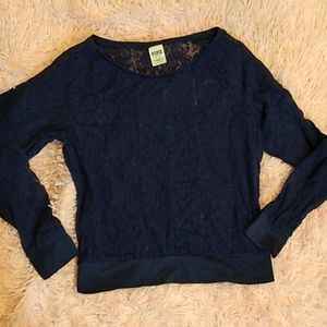 Vs Pink Navy blue lace long sleeve top